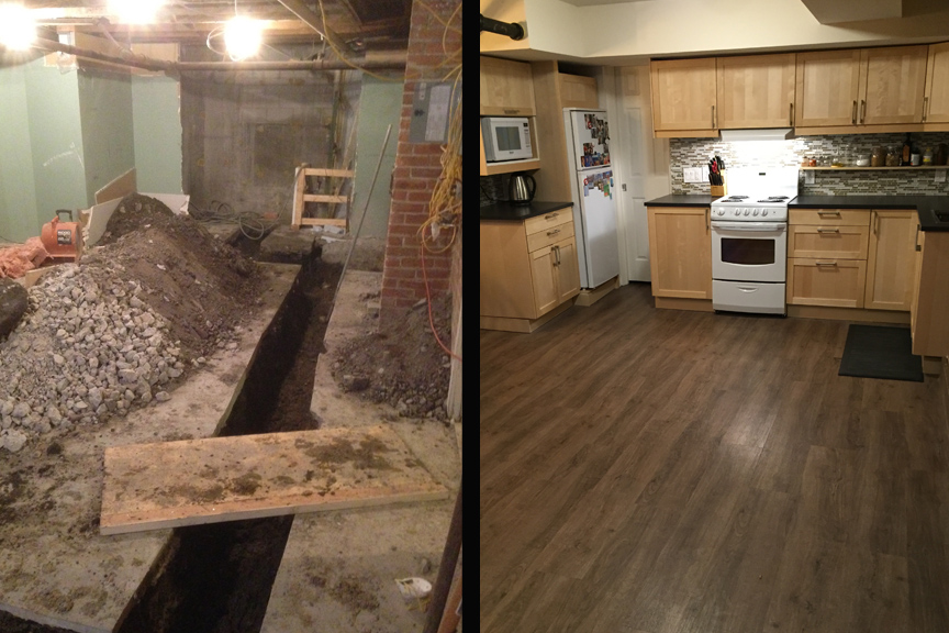 Before and after shots of the space.