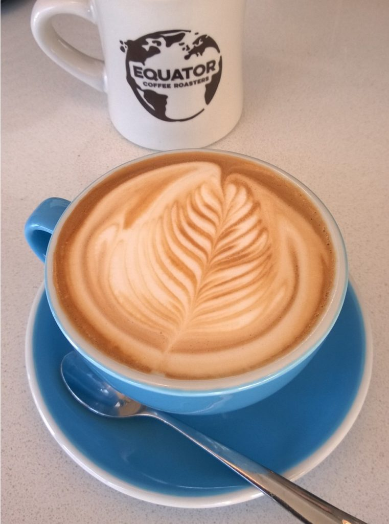 A cup of coffee from Equator Coffee Roasters.